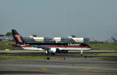 Jet airplane with Trump's logo